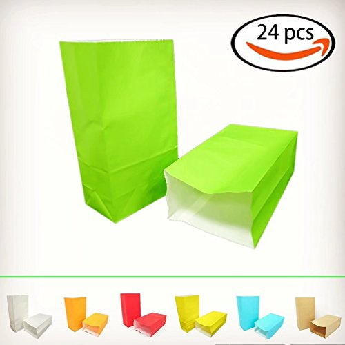 KIYOOMY Party Favor Printed Paper Gift Bags Green Kraft Paper Bags School Snack Bags for Baby Shower Kids Birthday Party Gift Giving(24 CT, Green Color)
