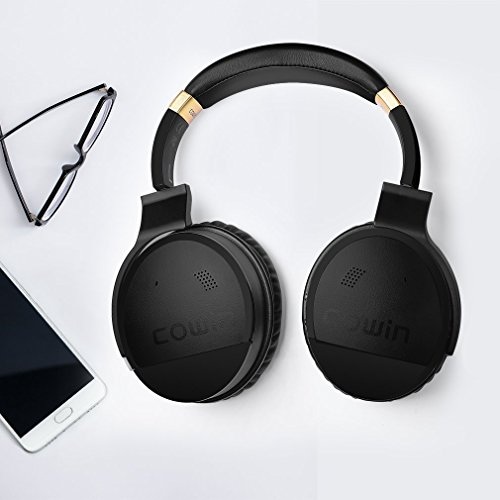 COWIN E8 [Upgraded] Active Noise Cancelling Headphone Bluetooth Headphones Microphone Hi-Fi Deep Bass Wireless Headphones Over Ear 20 Hour Playtime Travel Work TV Computer Phone - Black