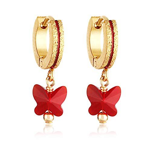 Surgical Steel Hypoallergenic Baby Girl Earrings - 14K Gold Coated Cute 6mm Hoop Swarovski Butterfly for Sensitive Skin (Swarovski Earrings For Baby)