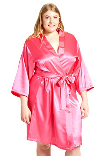 Jovannie Women's Satin 3/4 Sleeve Plus Size Kimono Robe with Matching Sash Regular/Long Length (Fuchsia, 4X Plus)