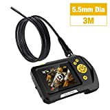 """Teslong Household Endoscope, NTS100R Waterproof Borescope Inspection Camera with 2.7"""" LCD Screen, Semi-Rigid Cable, 6 LED Lights, 2600mAh Lithium-Ion Battery, Hard Case (Basic-5.5mm-9.84ft)"""