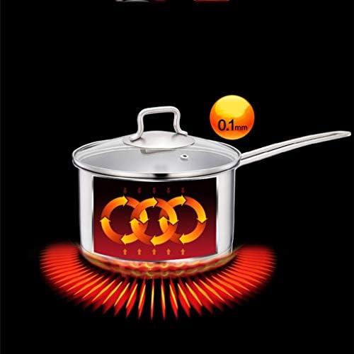 HYYDP Pot Poêle à frire antiadhésive marmite à lait en acier inoxydable petite marmite 304 épaississement inférieur 18cm