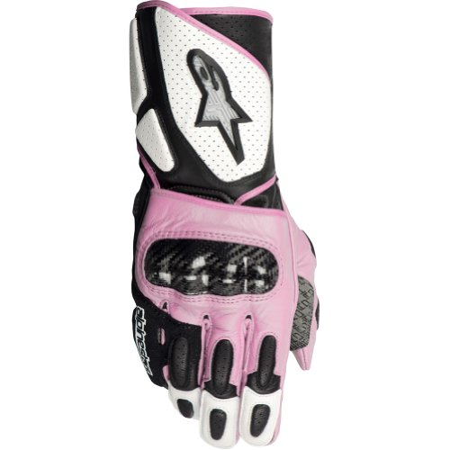 Alpinestars Stella SP-2 Women's Leather On-Road Racing Motorcycle Gloves - White/Black/Pink / Large