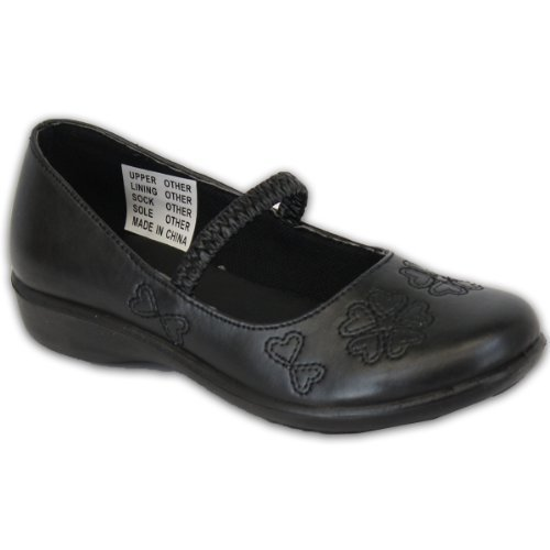 Mädchen Kinder Schuhe Schule Ballerinas Klettverschluss Elegant Formell Herz Muster Lässiger Riemen Schwarz