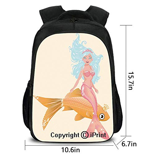 Men and Women Student Backpack,Smiling Little Mermaid Girl and Golden Fish Childhood Fantasy Crown Princess Decorative,School Bag :Suitable for Men and Women,School,Travel,Daily use,etc.