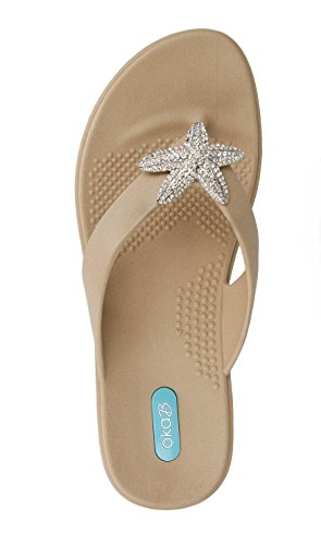 - Oliver Flip Flop Sandal Shoes by OkaB Color Chai with Crystal Starfish (ML)