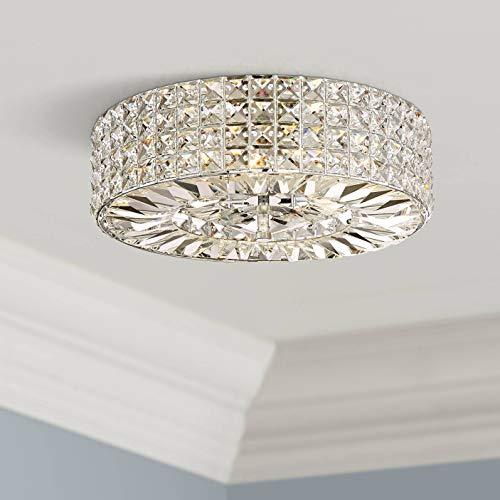 Avera Modern Ceiling Light Flush Mount Fixture Chrome Drum 15 1/2