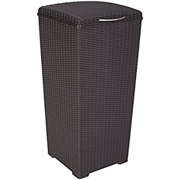 Incroyable Outdoor Resin Wicker Waste Basket Trash Can With Liner