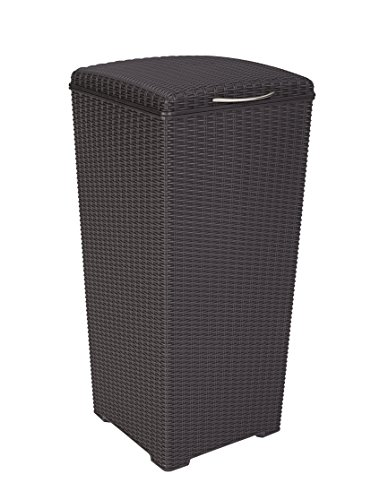 Keter Pacific 30 Gal. Outdoor Resin Wicker Waste Basket Trash Can with Liner (A Wicker)