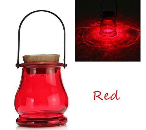 Superjune Solar Powered LED Lantern Table Aurora Sensor Garden Yard Night Lamp Light - Red (Red)