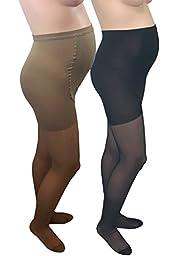 GABRIALLA Maternity Pantyhose - Compression (20-22 mmHg): H-260, 2 Count, X-Tall, Beige/Black