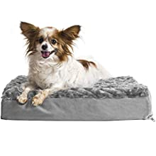 FurHaven Pet Dog Bed | Deluxe Orthopedic Ultra Plush Mattress Pet Bed for Dogs & Cats, Gray, Small