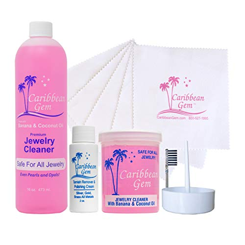 (Caribbean Gem Ultra Jewelry Cleaning Kit with Cleaner, Polishing Cream, Cleaning Cloths)
