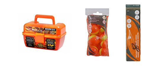 Orange Wormgear Tackle Box with Tackle Included - 104 Piece Tackle Box Bundle