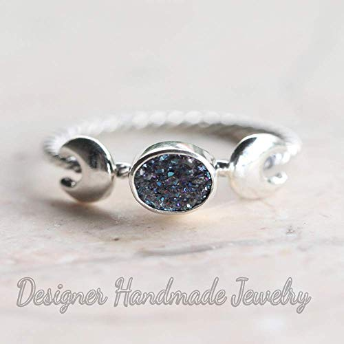 Goddess ring, boho, double crescent moon, druzy ring, solid 925 sterling silver with slim twist band, handmade with love, statement ring, multicolor gemstone ()