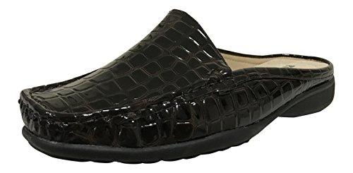 Pierre Dumas Kvinnor Hazel-23 Vegan Croco Lackläder Slip-on Mule Brun Croc