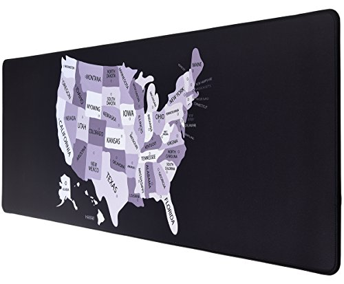 Big Map Us - ifrmmy US Map Pattern Cloth Gaming Mouse Pad XXL Large Size ( 36.6x11.8x0.12in ) with Non-Slip Rubber Base - Black