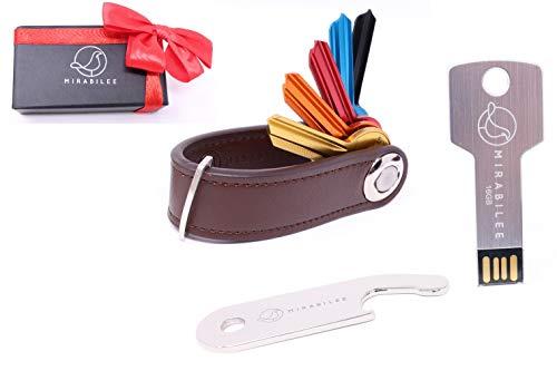 Key Organizer Keychain, Best Value Bundle 3-in 1 Set- Real Leather Compact Key Holder + Sleek 16GB Key Shape Aluminum USB Flash Drive + Bottle Opener +Gift Box, Highest Quality ()