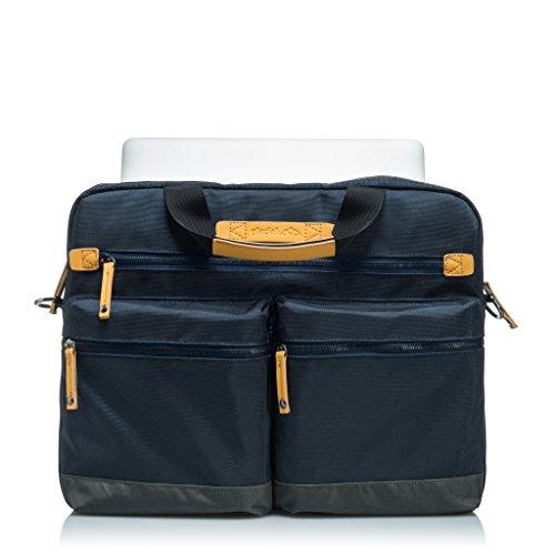 """GLACIAL Trend Messenger Bag - Large Leather & Polyester Shoulder Bag for Men - Fits 15"""" Laptop & Tablet - Detachable Padded Nylon Comfort Strap - For Work & School"""