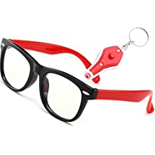 Computer Glasses for kids Computer Eyewear Blue Light Blocking Glasses Digital Eye Strain Ages 3-10(Rubberized Black &Red |Clear(yellowishr) Lens)