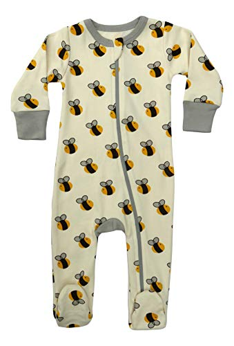 Cat & Dogma Certified Organic Baby Clothing - Footie (Bee, 6-12 Months)