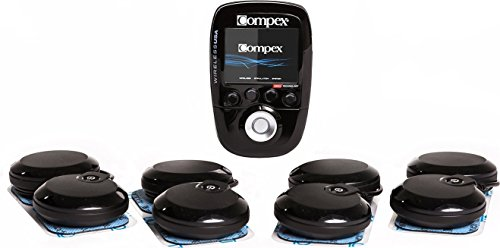 Compex Wireless USA Black Muscle Stimulator Bundle Kit: Muscle Stim, 24 Snap Electrodes, 9 Programs, Wireless PODs, Charge Station / 4 strength, 2 warm-up, 3 recovery by Compex