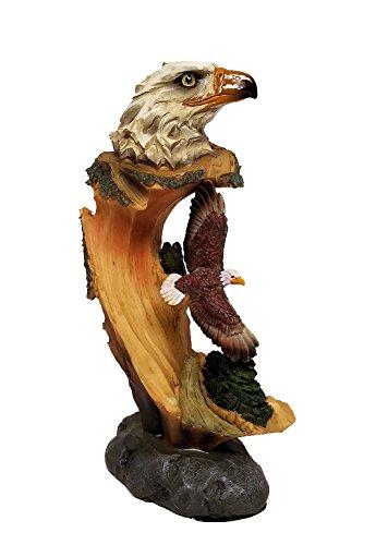 Bald Eagle Decor Carved Log Look Figurine Eagle Bust and Flying Eagle, 9