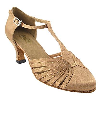 Très Belle Salle De Bal Latine Tango Chaussures De Danse Salsa Pour Les Femmes 6829 2,5 Talon + Pliable Brosse À Chaussures Bundle Marron Satin