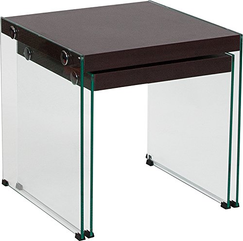 Contemporary Modern Design Dark Ash Wood Grain Finish Nesting Table with Glass Frame by Belncik