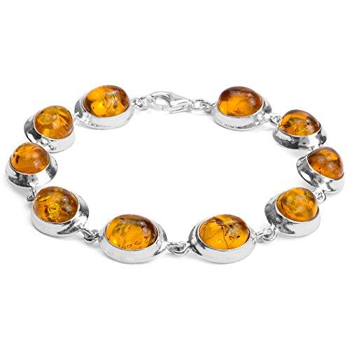 Miel Ambre Argent Sterling Bracelet ovale 19cm