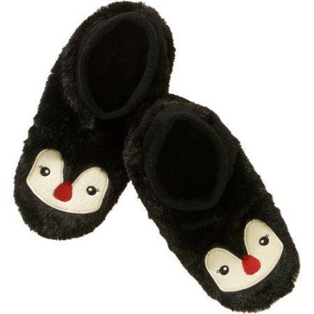 Fuzzy Babba Womens Footies Slipper Socks Harige Critter Animal Black Pinguin