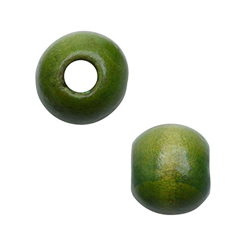 Smooth Large Hole Wood Beads, Round with 12mm Diameter, 36 Pieces, (Green Wooden Beads)