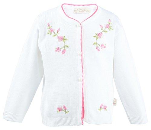 Lilax Baby Girls' Knit Cardigan Sweater 12M White