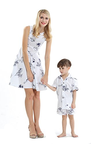 Matching Mother Son Hawaiian Luau Outfit Women Vintage Dress Boy Shirt Only Classic White Flamingo 2XL-12 -