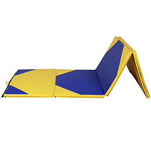 Yellow and Blue Stretching Yoga Folding Panel Thick Gymnastics Mat Exercise PU Leather Zipper by DTOFREE