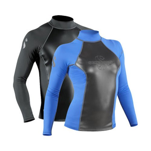 ScubaPro 1mm Hybrid T Long Sleeve Rash Guard Black Mens Medi