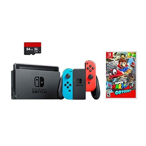Nintendo Switch 3 items Bundle:Nintendo Switch 32GB Console Neon Red and Blue Joy-con,64GB Micro SD Memory Card and Super Mario Odyssey Game Disc