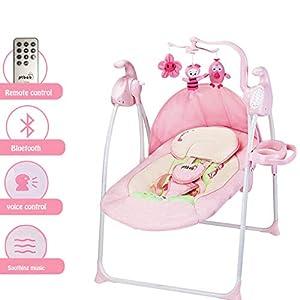 YX Lit de bébé pour lit de bébé, berceau, lit de couchage pour bébé, balancelle pour bébé avec Bluetooth et télécommande, panier à bascule Sleeping Music Baby Toddler Sleeping Rocker Cot 1