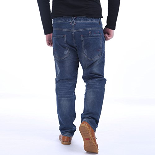 NiSeng Uomo Slim Fit Elasticizzato Jeans Plus Size Loose Fit Fashion Jeans Stretch Pantaloni Blu Scuro 5XL