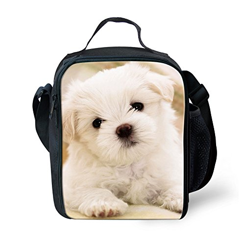 (Mumeson Cute Animal Dog Print Lunch Box Kit Insulated Tote Bag Food Lunchboxes)