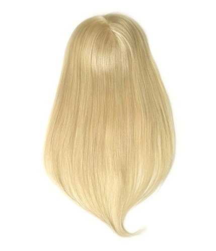 Uniwigs Clara Virgin Remy Human Hair Topper,hand Made Tied Straight Blonde Color, Add Hair Volume Instantly for Hair Loss (18'') by uniwigs