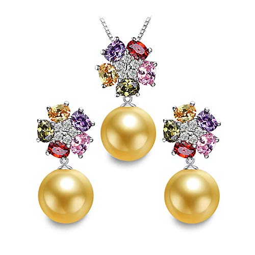 (LSOOYH 18K Gold Plated Fashion Austrian Crystal Flower Necklace Earrings for Women Golden Pearl Jewelry Sets (Golden))