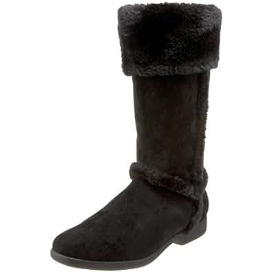 Annie Shoes Women's Boundry Faux Fur Boot,Black Velvet Suede,7.5 XW US