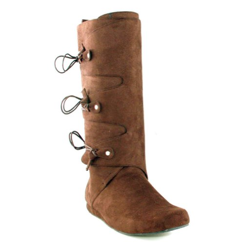 MENS SIZING Fabric Renaissance Costume Boots Knee High Boots Brown StCPgTW