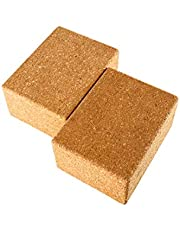 Yaegoo Yoga Blocks Set Of 2 3 Inchx6 Inchx4.5 Inch Natural Cork Brick Provides Stability Balance & Support Improve Strength And Deepen Poses Great For Yoga Pilates Workout Fitness & Gym
