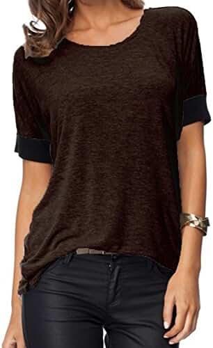 Sarin Mathews Women's Casual Round Neck Loose Fit Short Sleeve T-Shirt Blouse Tops