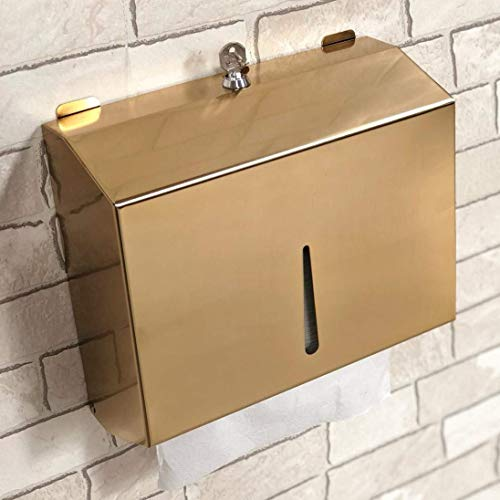 Multifold Paper Towel Dispenser Wall Mounted-Tissue Dispenser-Tissue Box Holder for Multifold Paper Towels-Trifold Hand Towel Holder Commercial for Office Bathroom&Kitchen-Rustic (Gold)