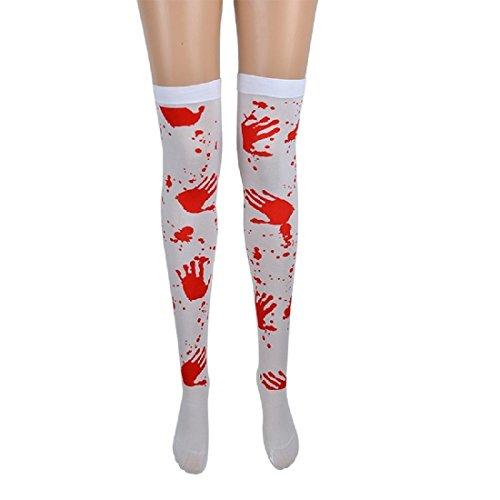 Halloween Socks Dressing Dresses Props Cosplay Silk Stockings Nightclub Bar Accessories Cos Bloody Nurse Socks (Red handprint) (Primark Halloween Dress)