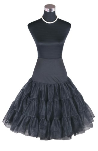 "Flora Women's 50s Vintage Skirt Rockabilly Net Petticoat 26""L (Large-Xlarge, Black)"