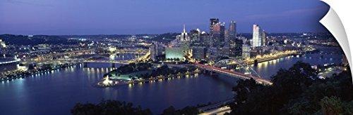 Canvas on Demand Wall Peel Wall Art Print entitled Skyline Pittsburgh PA - City Park Center Pa